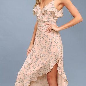 Blush Floral Print Ruffled Midi Dress